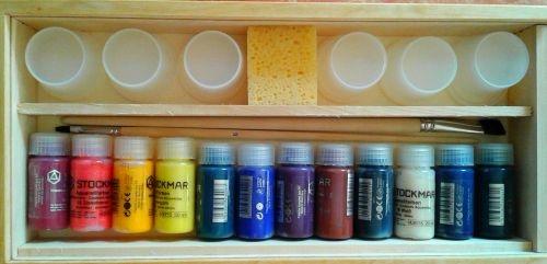 Holzfarbkasten 12 Aquarellfarben a 20ml und Zubehör
