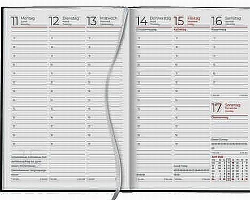 Zettler Buchkalender 766 2022  - 1 Woche / 2 Seiten, A5, schwarz