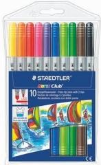 Staedtler® Doppelfasermaler Noris Club®, 2 Spitzen:10 Farben