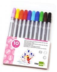 Fasermaler mit 2 Spitzen 10 Farben Spitze 1mm