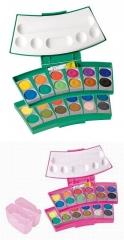 Pelikan Deckfarbkasten  735 PC/24, grün oder  pink · Kasten mit 24 Farben