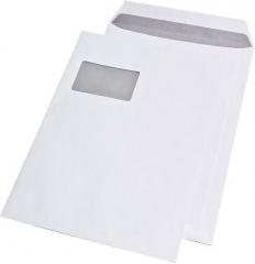 250 Stück · Versandtaschen C4 , mit Fenster, haftklebend, 100 g/qm, weiß