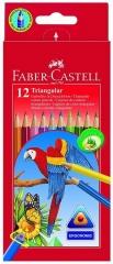 Faber-Castell Farbstift DREIKANT, 12 Farbstifte sortiert im Kartonetui