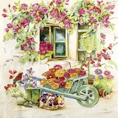 Servietten Design Fenster / Blumen · 20 Stück · 33 x 33 cm