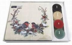 Servietten mit Teelicht Vögel