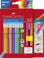 Faber-Castell Farbstifte Colour GRIP, sortiert, Promotionetui 12 St. + 2 St. Connector Filzstiftes